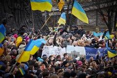 Protesta en Euromaydan en Lviv imagen de archivo