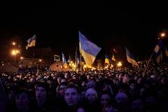 Protesta en Euromaydan en Lviv foto de archivo libre de regalías