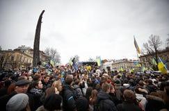 Protesta en Euromaydan en Lviv fotografía de archivo libre de regalías