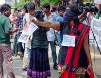 Protesta en indígenas urbanos de la ayuda, la India Foto de archivo libre de regalías
