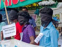 Protesta en indígenas urbanos de la ayuda, la India Fotos de archivo libres de regalías