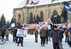 Protesta en Rumania contra ACTA fotos de archivo libres de regalías