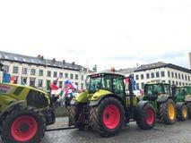 Protesta europea degli agricoltori a Bruxelles Fotografia Stock