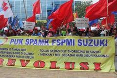 Protesta indonesia de los trabajadores en Día del Trabajo Fotos de archivo
