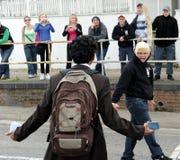 Protesta inglesa de la liga de la defensa Foto de archivo