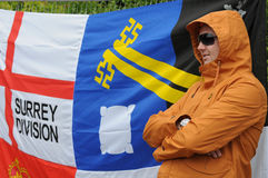 Protesta inglesa de la liga de la defensa Fotografía de archivo