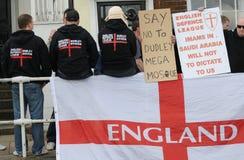 Protesta inglesa de la liga de la defensa Imagenes de archivo
