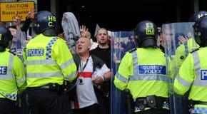 Protesta inglesa de la liga de la defensa Foto de archivo libre de regalías