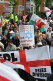 Protesta inglese della lega della difesa Fotografie Stock