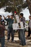 Protesta libica dell'ambasciata fotografia stock