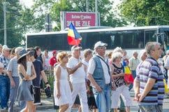 Protesta local de los seguidores de un programa local Antena 3 de las noticias TV Foto de archivo libre de regalías
