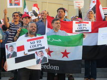 Protesta Mississauga Q dell'Egitto Fotografie Stock