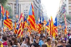 Protesta per indipendenza della Catalogna Fotografie Stock Libere da Diritti