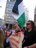 PROTESTA POLITICA DI GIORNO DI LIBERAZIONE. MILANO, ITALIA Immagini Stock