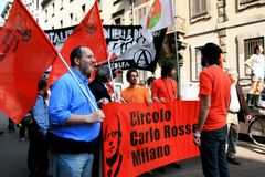 Protesta politica di giorno di liberazione. Milano, Italia Fotografie Stock Libere da Diritti