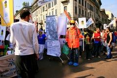 Protesta politica di giorno di liberazione. Milano, Italia Fotografia Stock