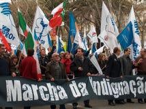 Protesta portuguesa de los profesores Imágenes de archivo libres de regalías