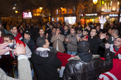 Protesta árabe, egipcios que demuestran contra la milipulgada Fotos de archivo libres de regalías