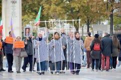 Protesta referente al encarcelamiento abusivo en Irán Foto de archivo