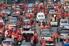 Protesta rossa della camicia - Bangkok fotografia stock libera da diritti