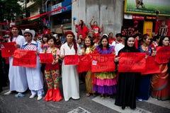 Protesta rossa delle camice a Bangkok fotografia stock