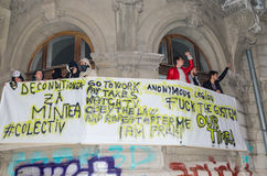 Protesta rumana 05/11/2015 Foto de archivo libre de regalías