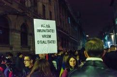 Protesta rumana 09/11/2015 Imagen de archivo libre de regalías