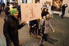 Protesta rumana para la democracia Foto de archivo