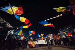 Protesta rumana para la democracia Imagen de archivo