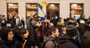 Protesta rumana para la democracia Foto de archivo libre de regalías