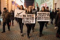 Protesta rumana para la democracia Fotos de archivo libres de regalías