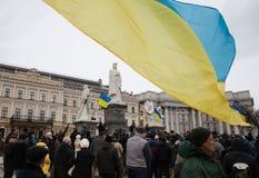 Protesta total contra la denegación del gobierno de Ucrania encendido Fotos de archivo libres de regalías