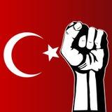Protesta turca del pugno e della bandierina Immagini Stock