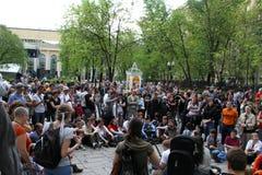 Protestactie van Okkupay Abay tegen vervalsing van verkiezingen Royalty-vrije Stock Fotografie