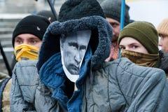 Protestacyjna akci ` przerwa Putin - Zatrzymuje Wojennego ` przy niezależność kwadratem w Kyiv Zdjęcia Royalty Free