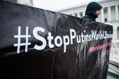 Protestacyjna akci ` przerwa Putin - Zatrzymuje Wojennego ` przy niezależność kwadratem w Kyiv Fotografia Royalty Free