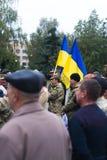 Protestacyjna akcja w Ukraińskim miasteczku w Cherkasy regionie na Październiku 2, 2017 Zdjęcia Stock
