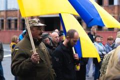 Protestacyjna akcja w Ukraińskim miasteczku w Cherkasy regionie na Październiku 2, 2017 Zdjęcie Royalty Free