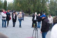 Protestacyjna akcja w Ukraińskim miasteczku w Cherkasy regionie na Październiku 2, 2017 Fotografia Royalty Free