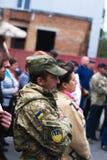 Protestacyjna akcja w Ukraińskim miasteczku w Cherkasy regionie na Październiku 2, 2017 Obrazy Royalty Free