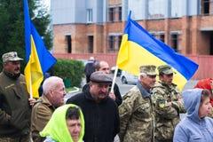 Protestacyjna akcja w Ukraińskim miasteczku w Cherkasy regionie na Październiku 2, 2017 Fotografia Stock