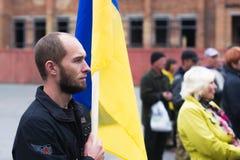 Protestacyjna akcja w Ukraińskim miasteczku w Cherkasy regionie na Październiku 2, 2017 Obraz Royalty Free