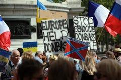 Protestacyjna manifestacja przeciw wojnie w Ukraina Fotografia Stock
