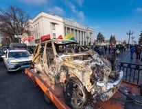 Protestacyjni kierowcy w Kijów fotografia royalty free