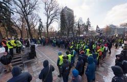 Protestacyjni kierowcy w Kijów obrazy royalty free