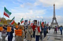 Protestacyjny dotyczy lżywy uwięzienie w Iran Zdjęcie Royalty Free