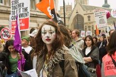 Protestador do palhaço na demonstração de Londres fotografia de stock
