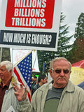 Protestador em cuidados médicos. imagem de stock