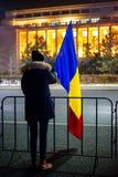 Protestador no 18o dia, Bucareste, Romênia Fotos de Stock Royalty Free