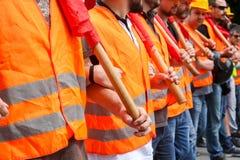 Protestadores durante uma greve geral nacional em Tessalónica Imagens de Stock Royalty Free